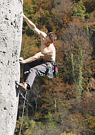 John climbing in October at Baychon, about 10 minutes from Chez Arran